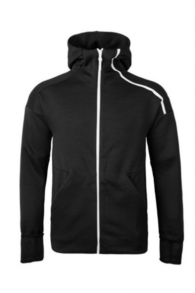 Sportive Colorblocked Lines Embellished Long Sleeve Zip Up Hoodie for Couple