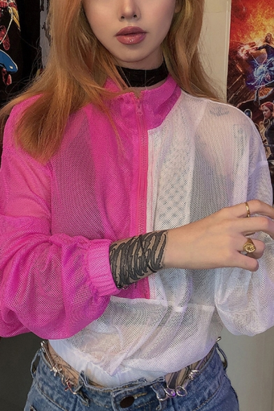 Stylish Rose Red and White Contrast Color Mesh Long Sleeve Zip Up Crop Sweatshirt