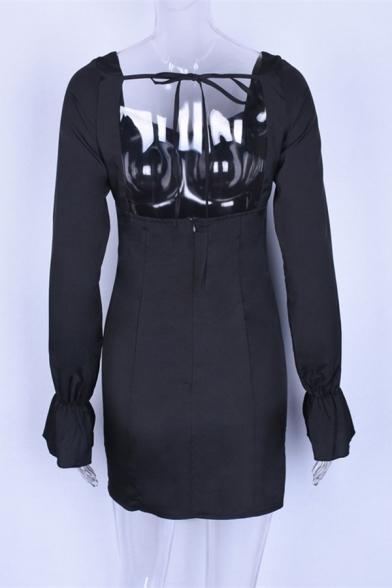 Women's Black Elegant Tied Front Sweetheart Neck Bell Long Sleeve Mini Bodycon Dress