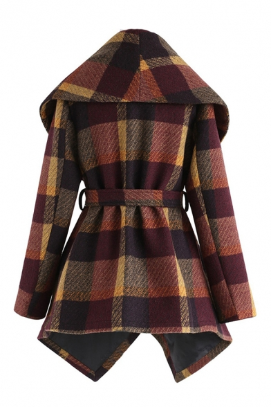 Women's Stylish Plaid Turn Down Collar Tied Waist Asymmetric Hem Wrap Wool Coat