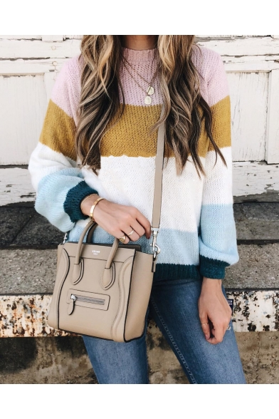 Womens Casual Color Blocked Crewneck Long Sleeve Striped Loose Pullover Sweater LM569085 фото