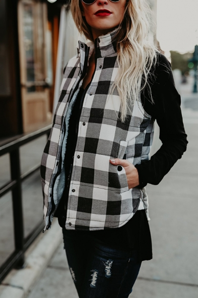 Womens Classic Plaid Sleeveless Stand Collar Zipper Slim Fit Thick Vest Coat