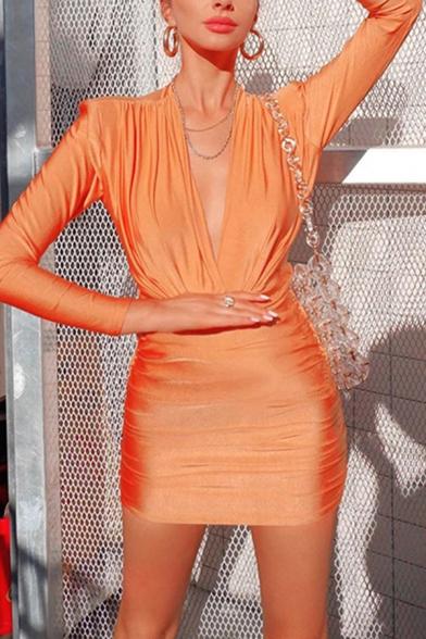 Womens Fall Stylish Orange Deep V-Neck Long Sleeve Ruched Detail Slim Fit Mini Bandage Dress
