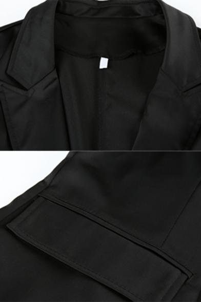 Womens Fashion Long Sleeve Flap Pocket Black Longline Blazer Coat with Push Buckle Belt