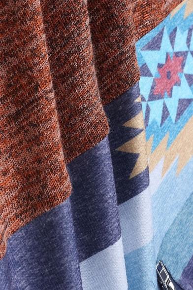 Womens Retro Geometric Pattern Long Sleeve Half Zip Casual Sweatshirt with Pouch Pocket
