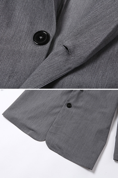 Womens Retro Grey Notched Lapel Long Sleeve Double Button Loose Fit Herringbone Blazer Suit