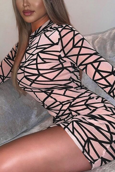 Womens Sexy Allover Irregular Geometric Pattern Long Sleeve Mock Neck Mesh Bodycon Dress