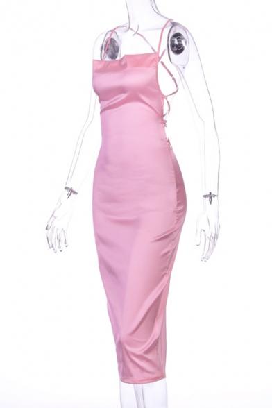 Womens Sexy Fashion Crisscross Open Back Plain Midi Bodycon Dress Club Dress
