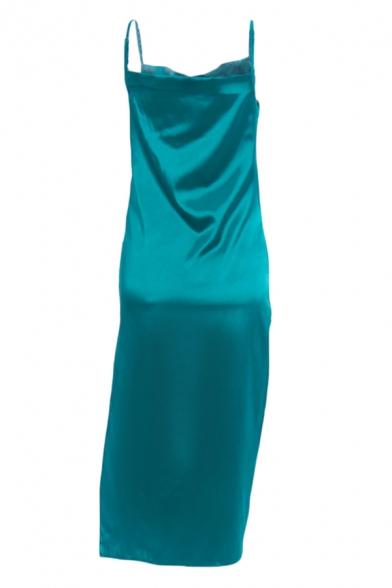 Womens Sexy Popular Cowl Neck Side Split Solid Metallic Midi Strap Dress