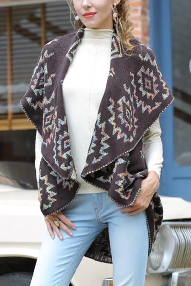 Womens Stylish Colorful Geometric Printed Wide Lapel Open Front Coffee Knitted Tunic Shawl Vest Coat LM569096 фото