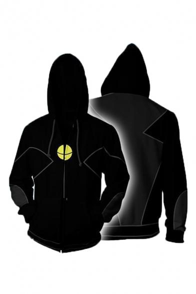 Black Cool 3D Printed Long Sleeve Cosplay Zip Up Casual Hoodie with Pocket