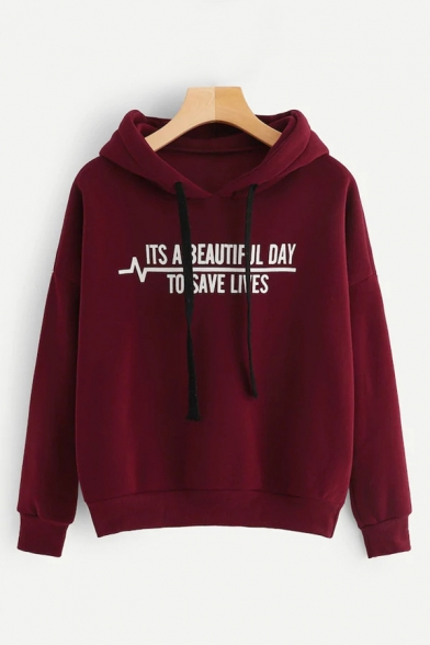 Funny Letter ITS A BEAUTIFUL DAY TO SAVE LIVES Printed Long Sleeve Regular Fit Drawstring Hoodie, Burgundy;pink;gray, LC568519