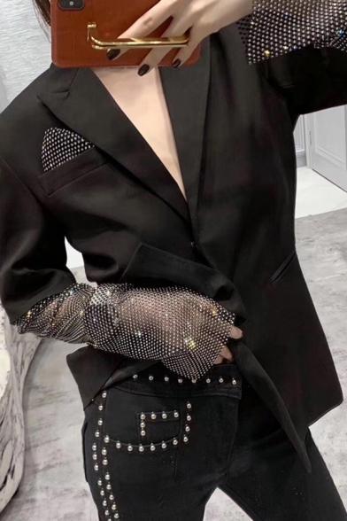 Ladies Fashion Rhinestone Patch Long Sleeve Snap Button Black Designer Loose Blazer Coat