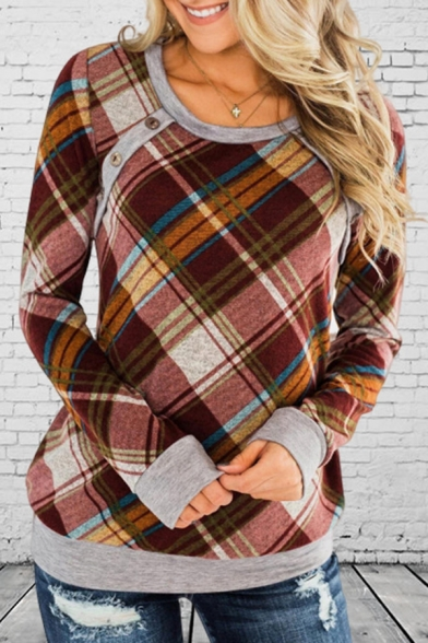 Ladies New Fashionable Checked Pattern Contrast Trim Long Sleeve Casual Pullover Sweatshirt
