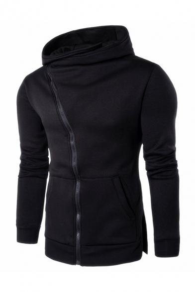 Generic Mens Tops Hoodie Zipper Solid Color Long Sleeve Sweatshirt Jackets