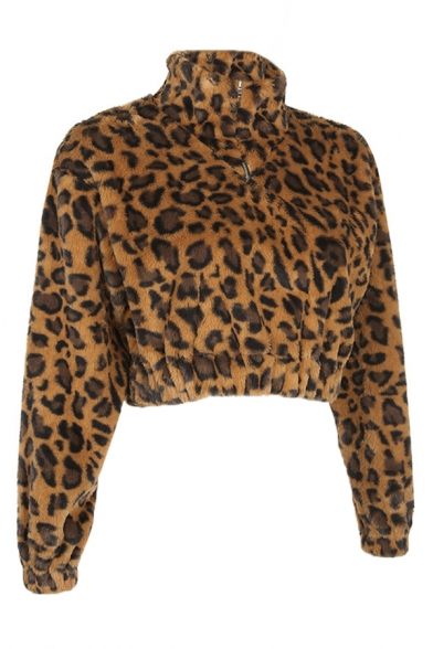 Winter Classic Leopard Printed High Collar Long Sleeve Half Zip Cropped Slim Fit Brown Fluffy Plush Sweatshirt