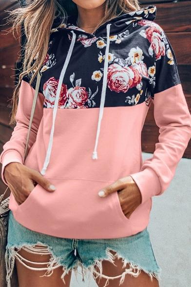 Womens Stylish Flower Pattern Patch Long Sleeve Kangaroo Pocket Drawstring Hoodie in Pink