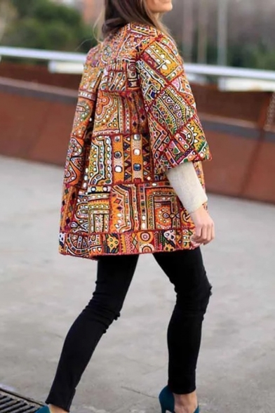 Womens Vintage Tribal Print 3/4 Sleeve Loose Fit Open Front Casual Coat