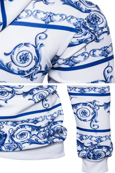 Chinese Style Blue and White Porcelain Printed Long Sleeve Vintage Drawstring Hoodie