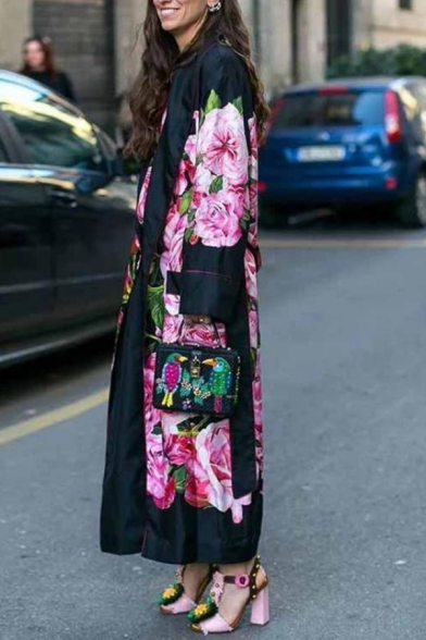 Fashion Floral Printed Long Sleeve Slit Detail Loose Black Longline Trench Coat for Women