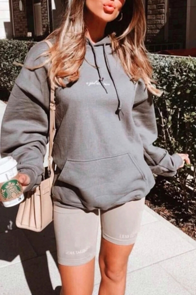 Grey Fashionable Embroidery Letter Plain Long Sleeve Loose Fit Pouch Pocket Drawstring Hoodie