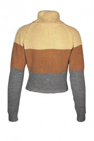 Ladies Winter Popular Contrast Stripe Long Sleeve Turtle Neck Slim Fit Cropped Knit Pullover Sweater