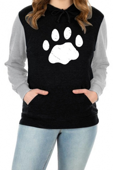 Lovely Cat Footprint Colorblock Long Sleeve Regular Casual Drawstring Hoodie with Pocket