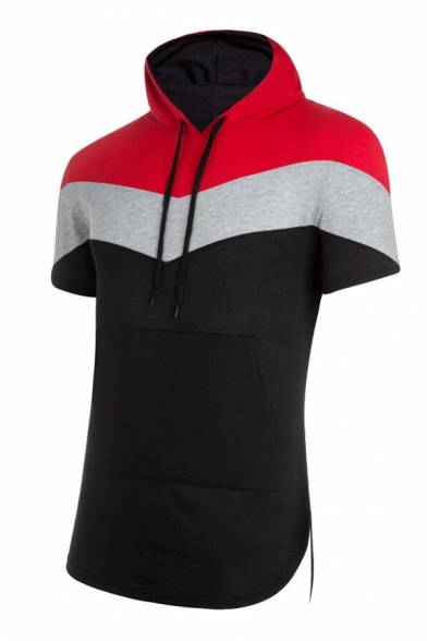 Mens Classic Stripe Panel Short Sleeve Curve Bottom Fitted Drawstring Sport Hoodie