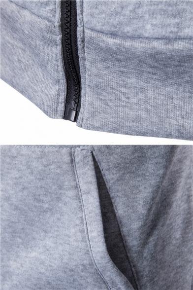 Mens Fashion Solid Color Oblique Zipper Long Sleeve Simple Pullover Hoodie with Pocket