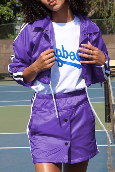 Purple Lapel Collar Color Block Striped Long Sleeve Single Breasted Drawstring Crop Casual Jacket Coat