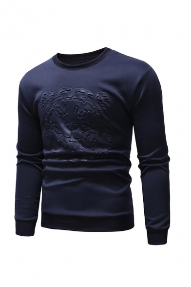Solid Color Tiger Head Printed Round Neck Long Sleeve Slim Fit Casual Sweatshirt