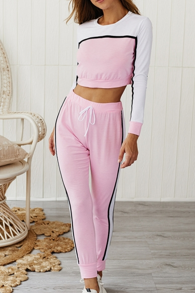 Womens Active Striped Panel Round Neck Long Sleeve Crop Top Drawstring Waist Leisure Pants Two Piece Track Suit, Green;pink;red;army green, LC567943
