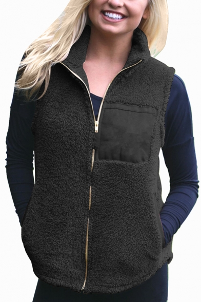 Womens Chic Solid Color Patchwork Design Lapel Collar Sleeveless Zip Up Plush Fluffy Warm Vest