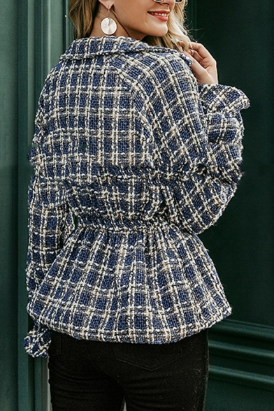 Womens Elegant Blue Checked Pattern Ruffled Long Sleeve Double Button Tweed Jacket Coat