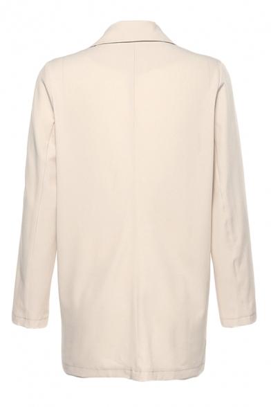 Womens Elegant Long Sleeve Single Breasted Khaki Longline Loose Suit Coat with Flap Pocket