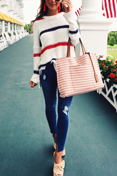 Womens Loose Colorblock Stripe Long Sleeve Drop Shoulder Dipped Hem White Pullover Sweater, LM568694