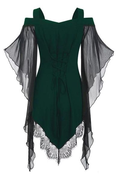Womens Punk Stylish Cold Shoulder Lace Mesh Panelled Flare Sleeve Lace Up Retro Bandage Dress