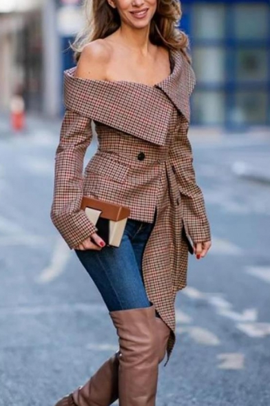 Womens Sexy Brown Checked One Shoulder Long Sleeve Flap Pocket Button Decoration Irregular Longline Top Coat