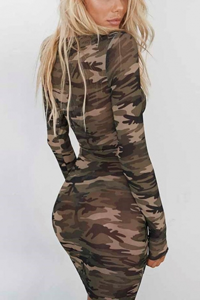 Womens Sexy Camo Printed Long Sleeve Round Neck Sheer Mesh Mini Dress