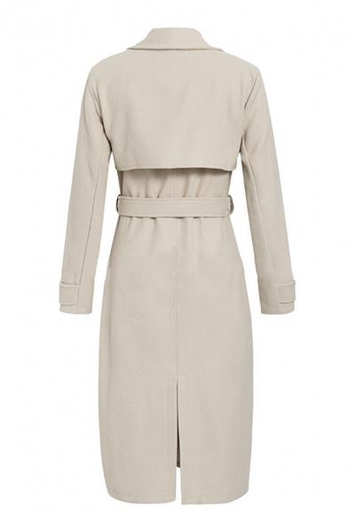 Womens Stylish Commuting Coat Long Sleeve Hidden Button Tied Waist Slit Back Light Apricot Longline Warm Woolen Overcoat