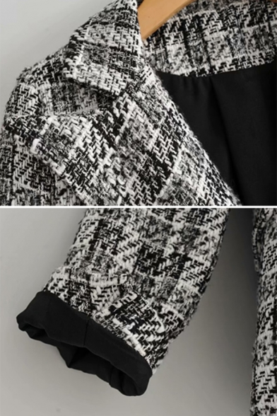 Womens Winter Fashion Check Pattern Notched Lapel Double Breasted Gray Short Wool Blazer