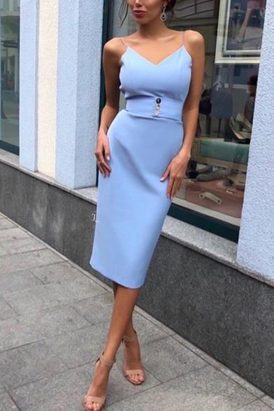 Blue Elegant Ladies' Sleeveless Button Detail Mid Dinner Bodycon Cami Dress