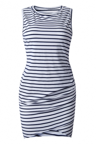 Casual Women's Sleeveless Short Sleeve Stripe Print Cotton Short Bodycon Bandage Dress in Navy Blue