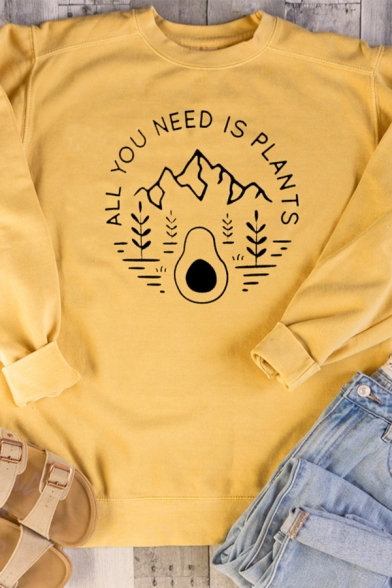 Cute Mountain Letter ALL YOU NEED IS PLANTS Print Long Sleeve Loose Pullover Sweatshirt