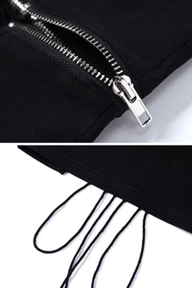 Dark Cool Sleeveless Strapless Letter HELLO Print Zip Lace Up Slim Fit Black Crop Tube Top for Girls