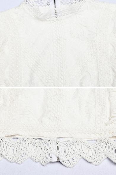 Elegant Long Sleeve Mock Neck Floral Embroidered Scalloped Sheer Lace Zip Back Slim Fit White Crop Top for Girls