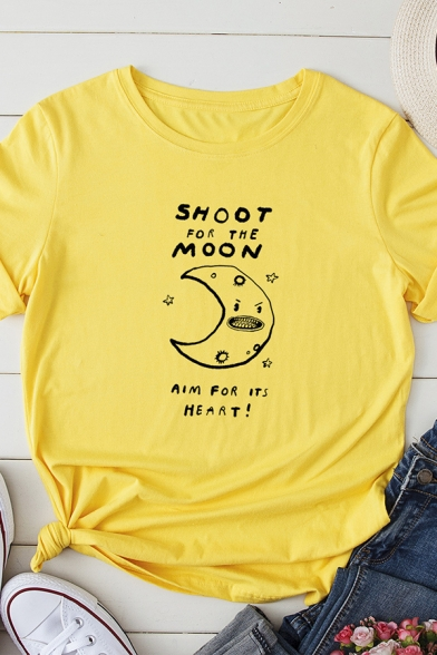Fancy Letter SHOOT FOR THE MOON Printed Short Sleeve Graphic T-Shirt, Black;pink;red;royal blue;white;gray;yellow;dark gray;light gray;army green, LC570654