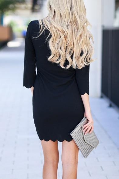Formal Elegant Ladies' Long Sleeve Crew Neck Scalloped Mini Sheath Dress in Black