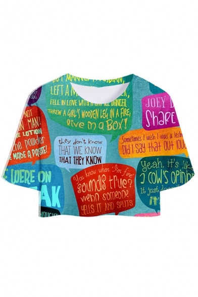 Funny Colorblock Letter Printed Cropped T-Shirt Dolphin Shorts Co-ords Tracksuit
