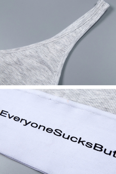 Grey Sport Girls' Sleeveless Letter EVERYONE SUCKS BUT ME Contrast Patched Knit Slim Crop Tank Top